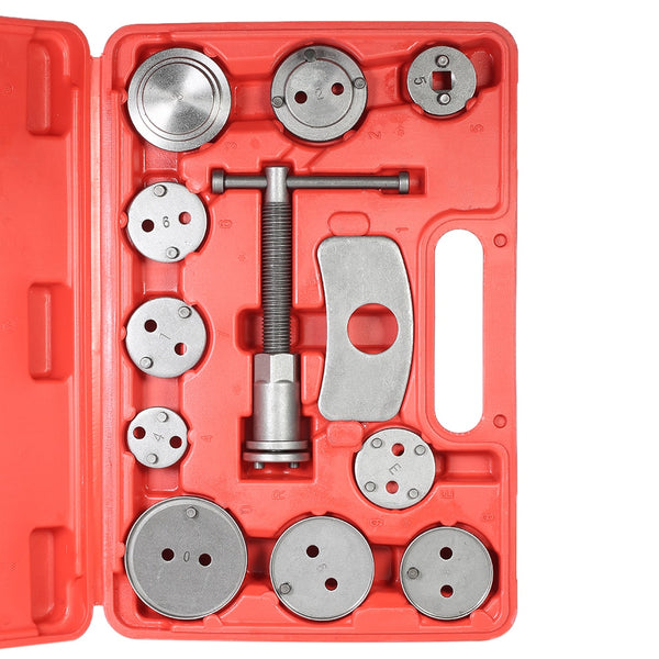 12pcs Auto Universal Disc Brake Caliper Automobile Garage Repair Tool Kit Pad Piston Compressor with Case