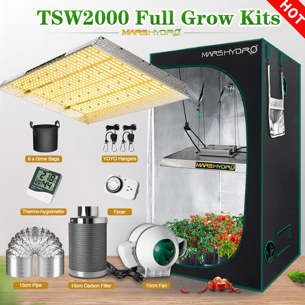 Mars Hydro TSW 2000W Grow Kits LED Grow Light Full Spectrum LED Lamp Veg Flower Plant +Indoor Grow Tent Kit Comb Multi-size