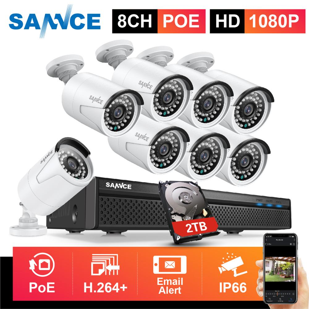 SANNCE 8CH 1080P FHD POE Security System H.264+ 5MP NVR With 4X 6X 8X 2MP Outdoor Weatherproof Audio Record IP Cameras CCTV Kit