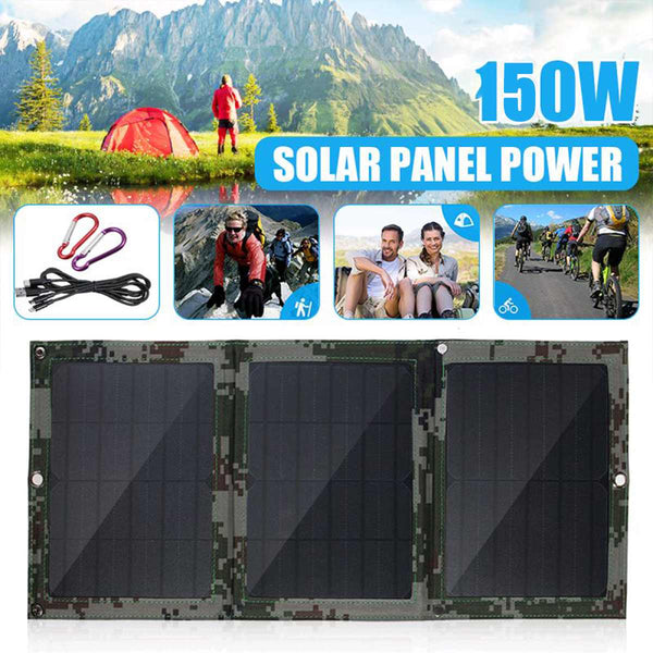 Foldable 150W 5V Dual USB Solar Panel Portable Folding Waterproof Power Battery Charger