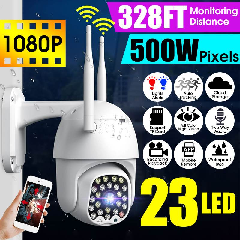 1080P HD PTZ IP Camera 23LEDs 328ft Vision Outdoor Waterproof WiFi Speed Dome CCTV 5MP Digital Zoom Night Vision Security Camera