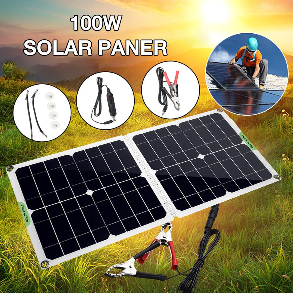 Portable Solar Panel Set 100W 12V/5V With Car Boat Motorcycle Battery Charging