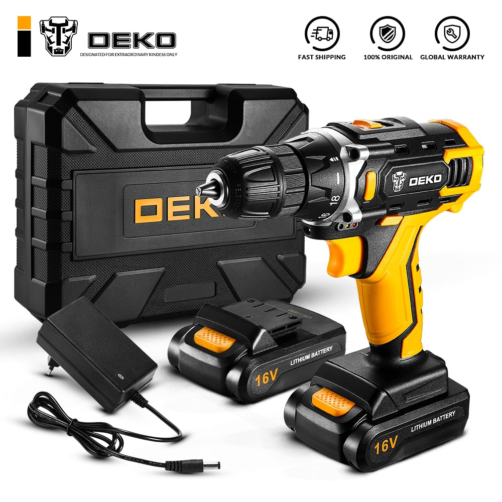 DEKO  Loner 16V Cordless Drill Powerful Screwdriver Mini Wireless Driver and Drill Woodworking DC Lithium-Ion Battery