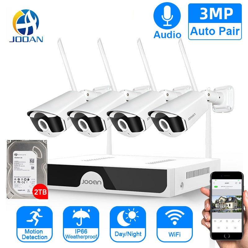 Ultra HD 3MP CCTV Wireless System Audio Record Outdoor P2P Wifi IP Security Camera