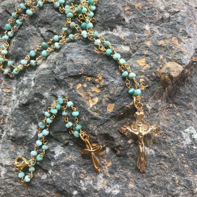 Rachel's Gold Crucifix Necklace / Bracelet Set