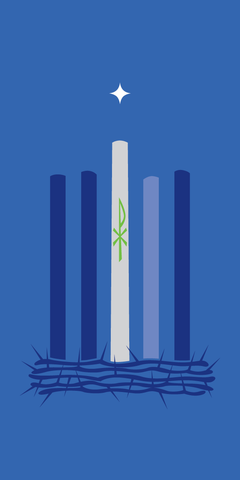 Scapegoat Studio Advent Candle Banner with Crown of Thorns Blue