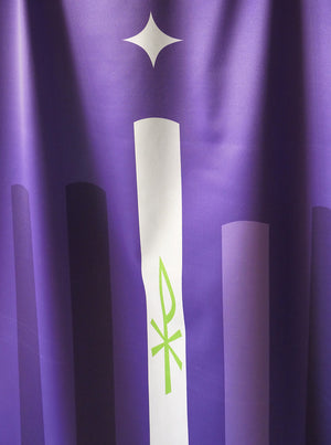 Scapegoat Studio Advent Candle Banner with Crown of Thorns Purple