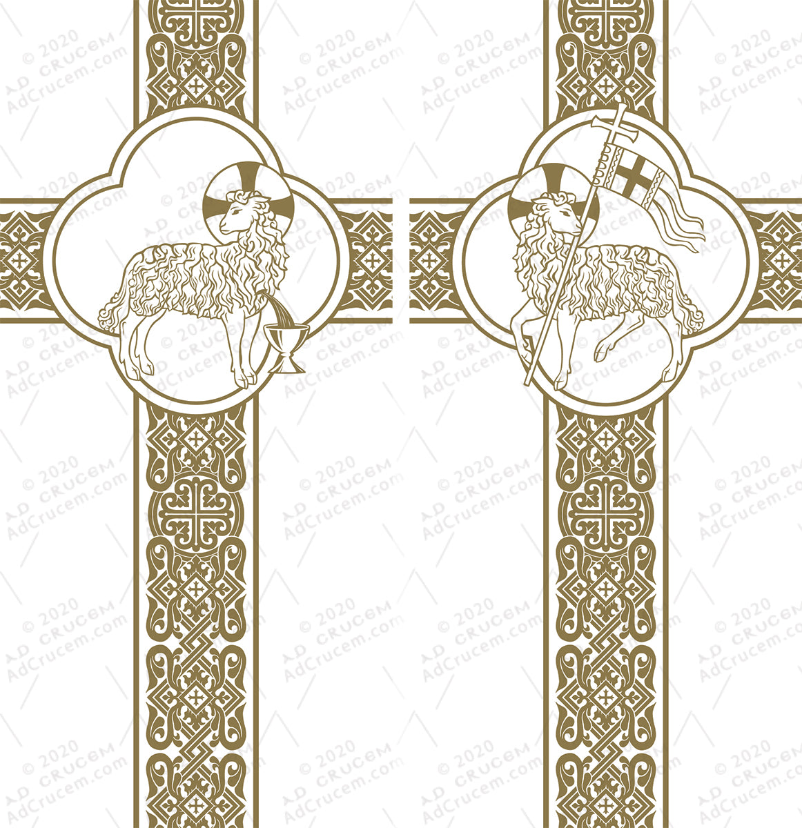 Ad Crucem Agnus Dei White Banners Set of Two