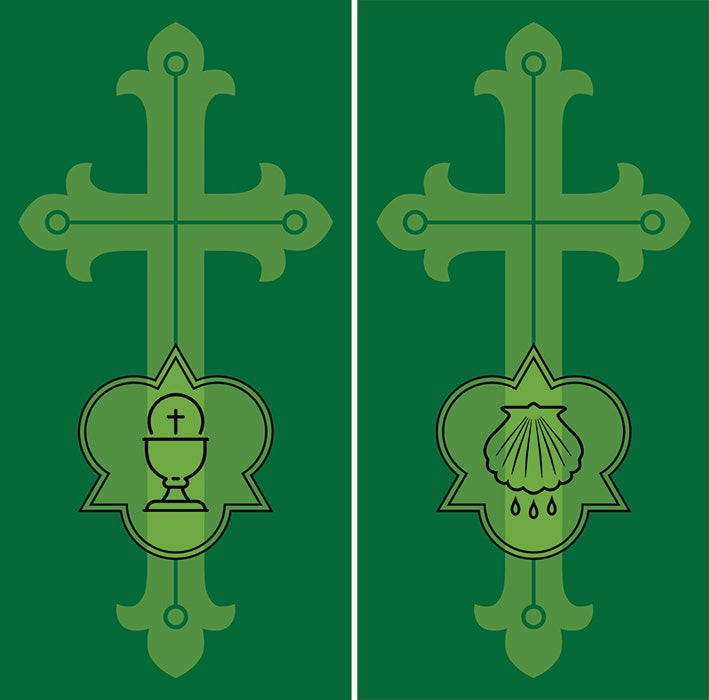 Ad Crucem Two Banner Set - Ordinary Time Ornate Cross