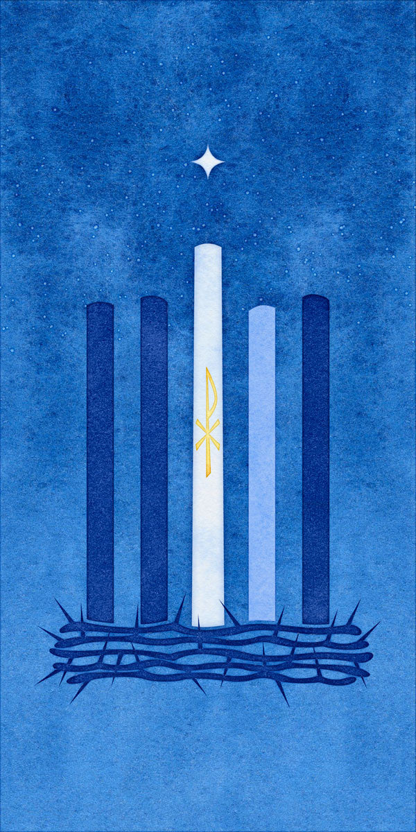 Scapegoat Studio Advent Watercolor Candle and Thorns Banner Blue