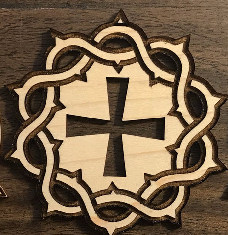 Ad Crucem Crown of Thorns Engraved Ornament