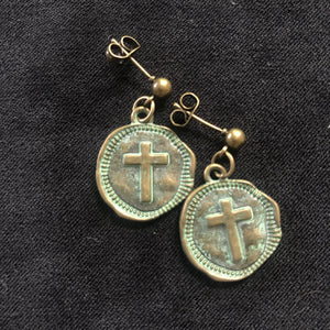 Rachel's Brass Cross Earrings