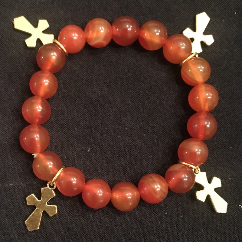 Rachel's Unique Red Beaded Cross Bracelet