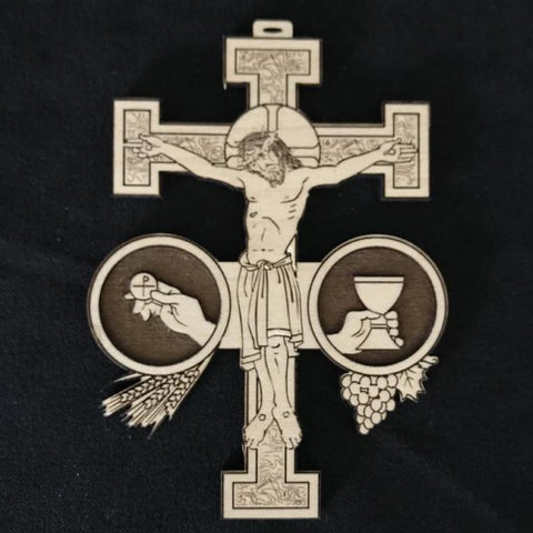 Ad Crucem Crucifix Laser Wood Cut With  Sacraments