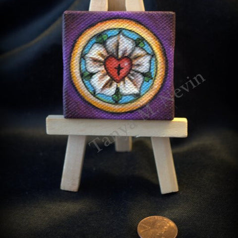 Tanya Nevin Miniature Luther Rose Painting