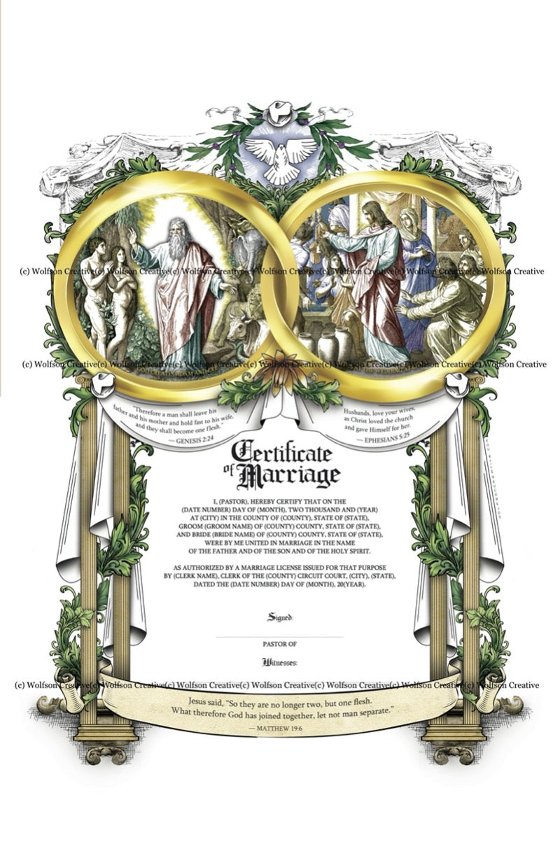 Wolfson Marriage Certificate (unlimited Printing) - Recipient