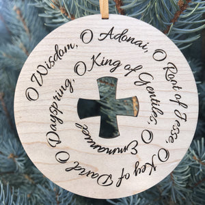 Ad Crucem O Antiphons Christmas Ornament Cursive Style