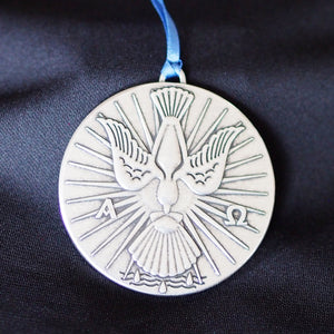 Ad Crucem A Pewter Dove and Shell Baptism Keepsake