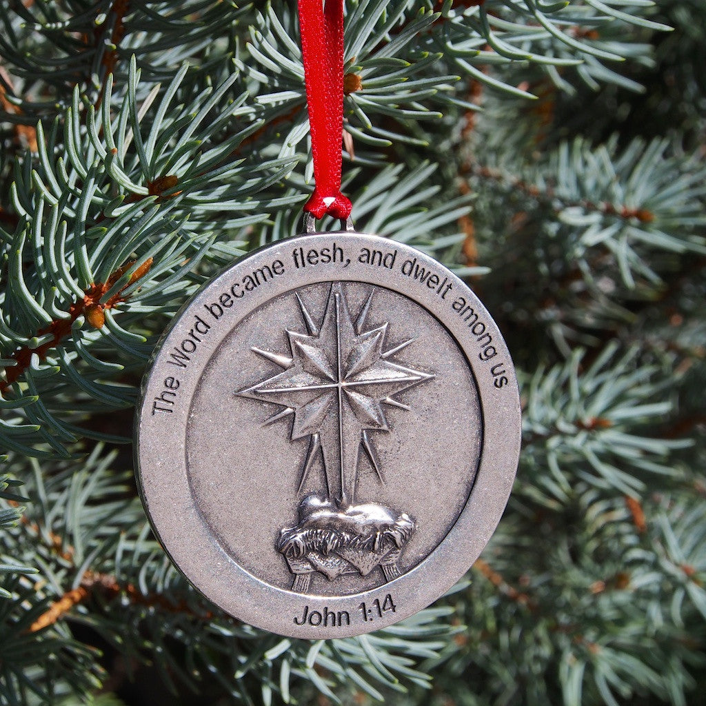Ad Crucem A Pewter Infant Jesus & Cross Star Christmas Ornament
