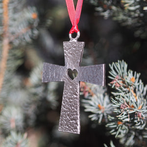 Ad Crucem Pewter Cross Ornament with Heart