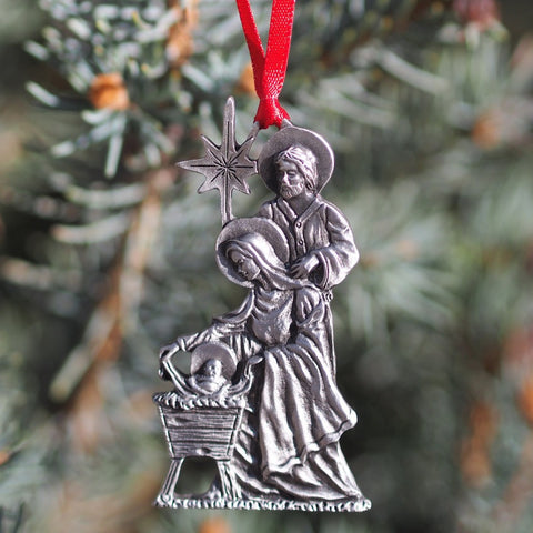 Christmas Pewter Nativity Ornament