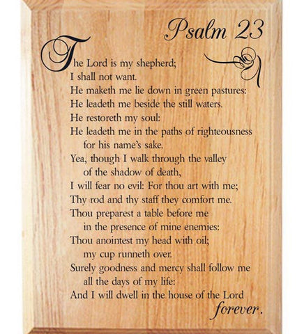 Psalm 23 Alder Wood Plaque