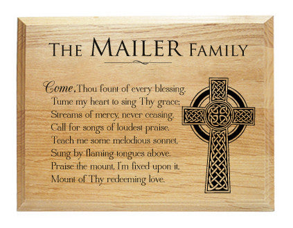 Wood Plaque Come Thou Fount of Every Blessing Alder