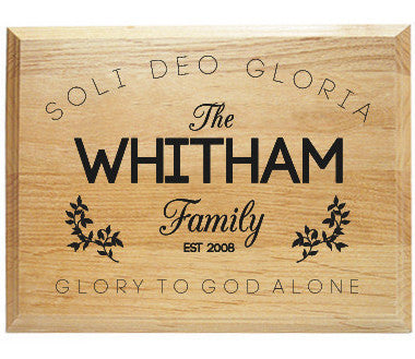 Soli Deo Gloria Alder Wood Plaque