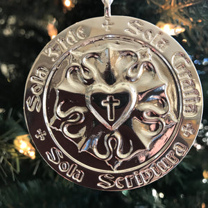 Ad Crucem Luther Rose Christmas Ornament English and Latin Solas