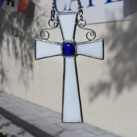 White and Blue Stained Glass Cross