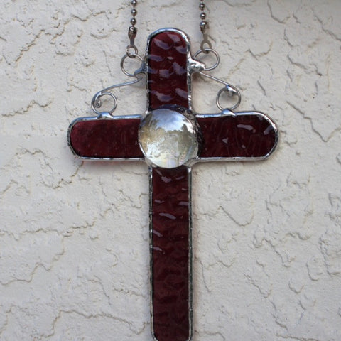 Violet Stained Glass Cross