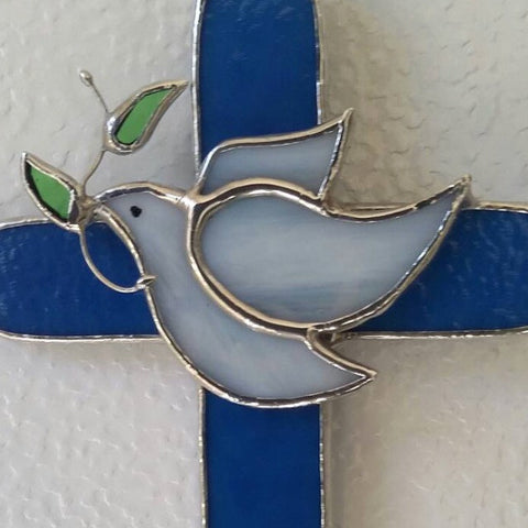 Blue Stained Glass Cross with Dove