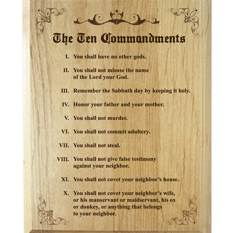 Wood Plaque Ten Commandments Alder