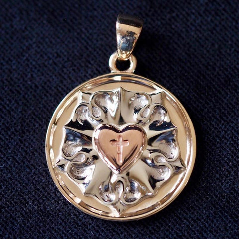 Ad Crucem Tri-Color 14k Gold Luther Rose Pendant