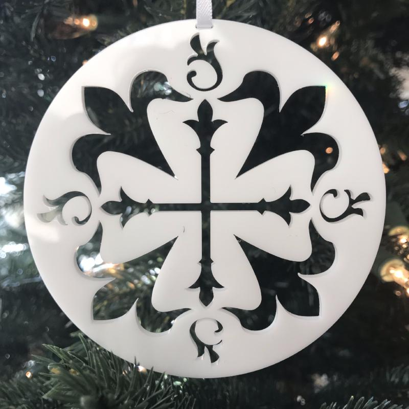 Ad Crucem Christmon - Cross with Ornate Fleur de Lis