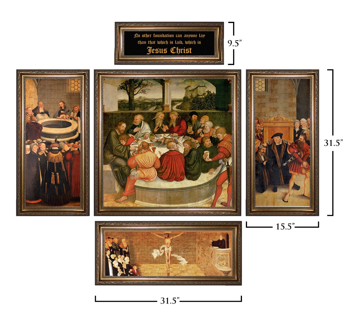 Lutheran Reformation Altarpiece Giclee - Ornate Gold Solid Wood Frame Collection