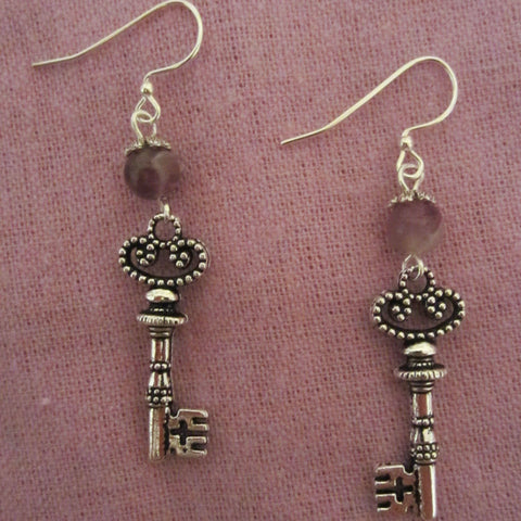 Silver Key Cross Earrings