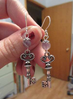 Kelly's Silver Key Cross Earrings