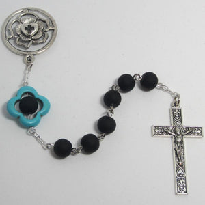Kelly's Black and turquoise Luther rose chaplet