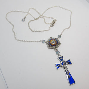 Kelly's Blue Enamel Holy Spirit Necklace