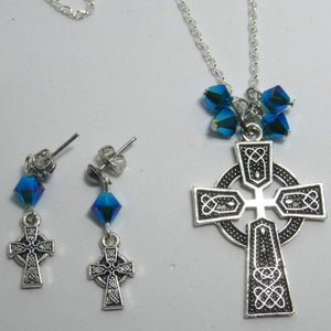 Kelly's Celtic blue crystal necklace & earrings set