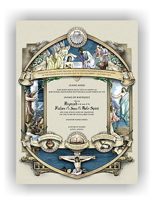 Wolfson Congregational Baptismal Certificate (unlimited printing) - Sponsors