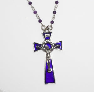 Kelly's Cobalt Blue Crucifix Necklace