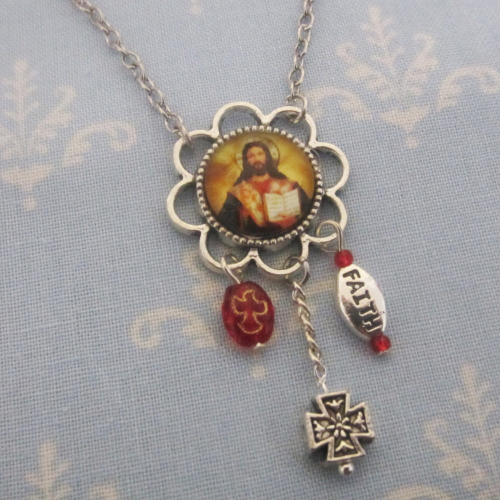 Kelly's Red Jesus as Teacher Necklace