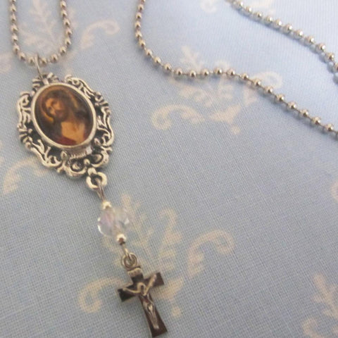 Kelly's Ecce Homo Necklace with Crystal Bead