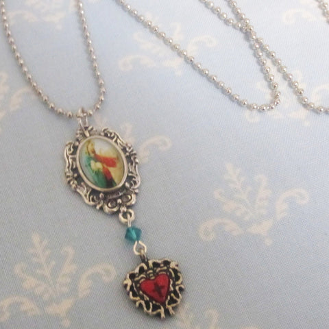 Good Shepherd Necklace - Red and Emerald