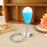 Small USB LED Bulb Night Light Bendable Soft Cable Computer PC Power Bank Lamp