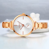 Three Color Big Round Case Alloy Slim Band Analog Quartz Women Wrist Watch
