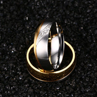 Fashion Gold Plated Titanium Steel Lover Ring Wedding Band Bridal Jewelry Gift