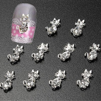 10 Pcs 3D Lovely Cat DIY Decoration Rhinestone Nail Art tips Glitters Stickers